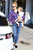 January Jones stepped out with her son, Xander, in Los Feliz, CA.