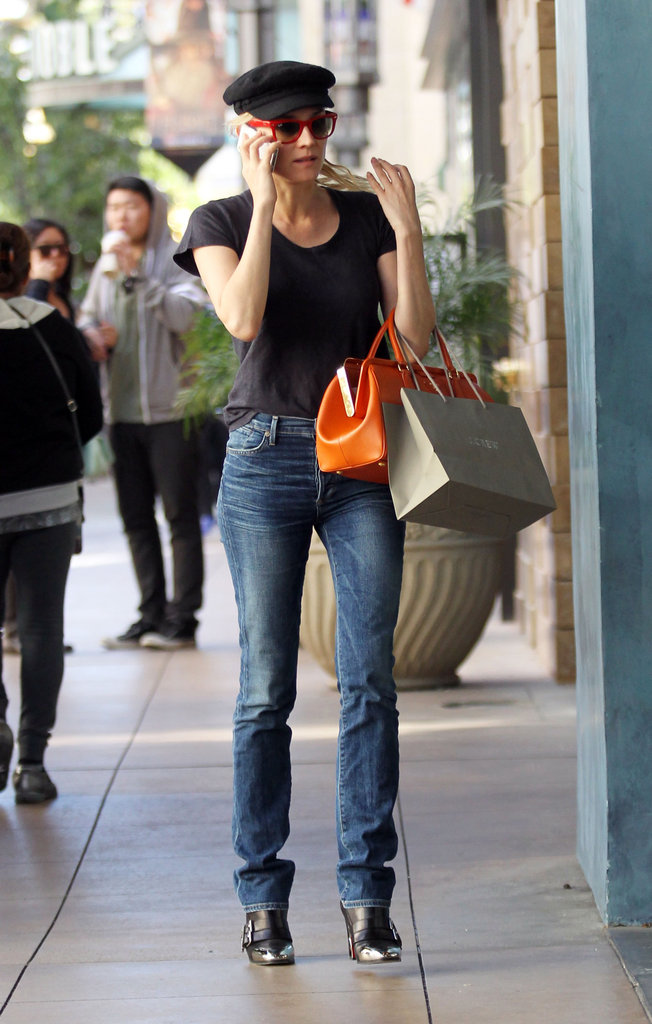 Diane Kruger wore red sunglasses while out shopping in LA.