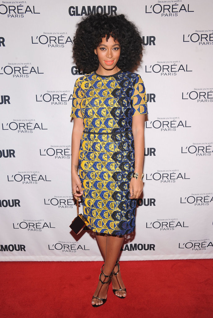 Solange Knowles brought her signature styling on a bold printed sheath, then finished with a sleek box clutch and strappy heels.