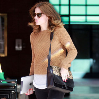 Mandy Moore Carrying Leopard-Print Bag