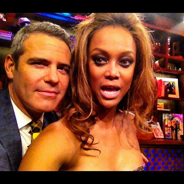 """Andy Cohen attempted to """"smize"""" with Tyra Banks. Source: Instagram user bravoandy"""