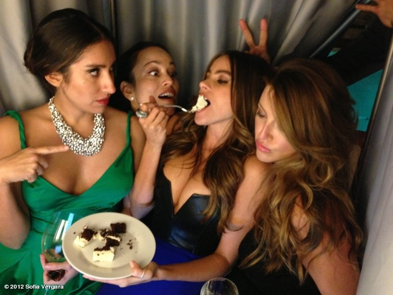 Sofia Vergara ate cake in a photo booth during a friend's wedding. Source: Sofia Vergara on WhoSay