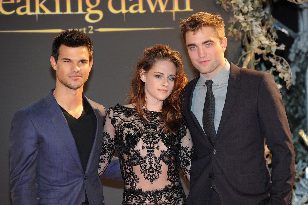 Taylor Lautner, Kristen Stewart, and Robert Pattinson got together in London.