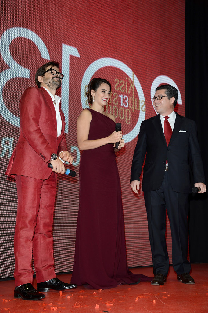 Penelope Cruz took the stage at a cocktail party to celebrate her Campari calendar.