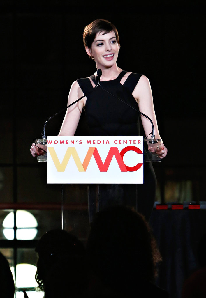 Anne Hathaway addressed a crowd in NYC.