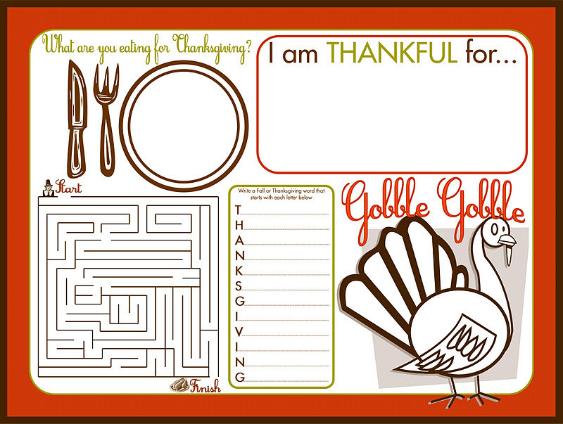 Children's Activity Place Mat