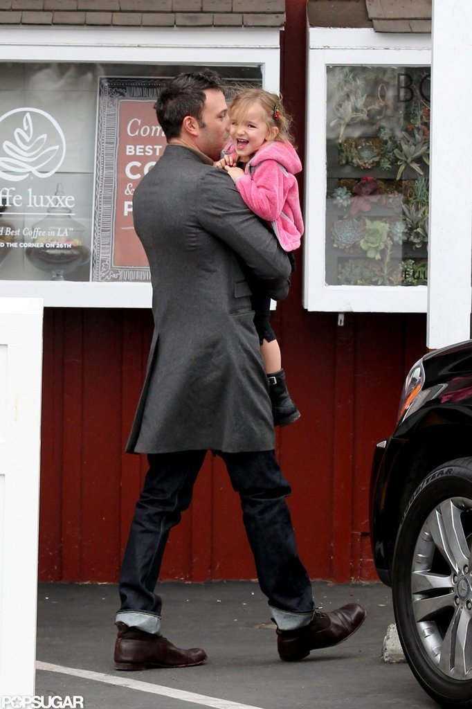 Seraphina Affleck giggled as Ben Affleck carried her to breakfast in LA.