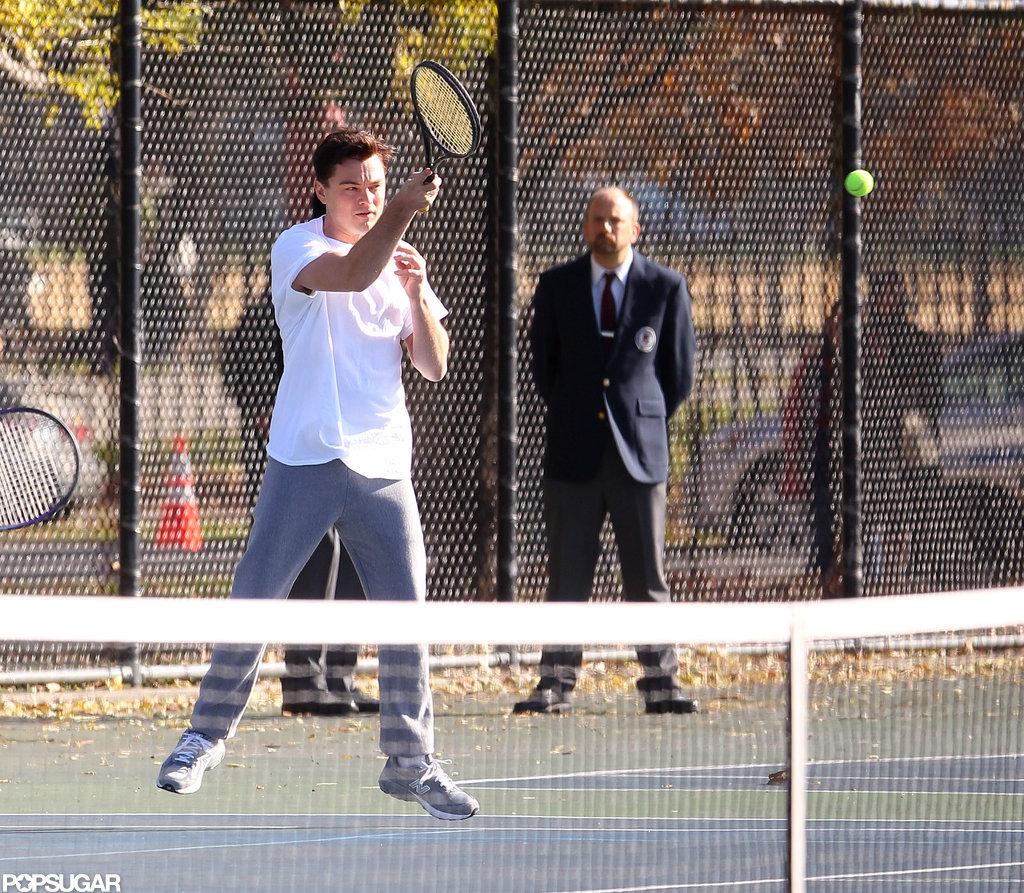 Leonardo DiCaprio took a swing on the tennis court.