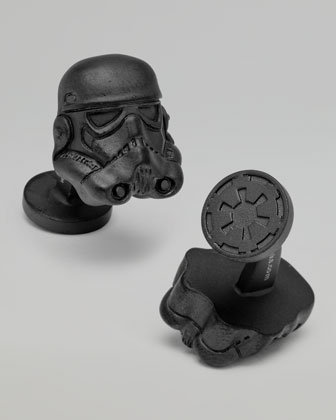Matte-black Stormtrooper Cuff Links ($125) made of palladium metal bear the mark of the Galactic Empire on the backs, perfect for those who feel a strange allegiance to the Dark Side.