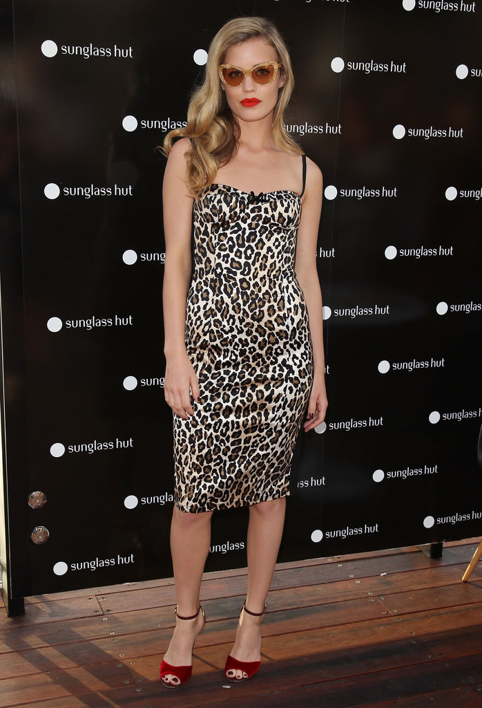 Georgia May Jagger had a retro bombshell moment in a leopard-print sheath.