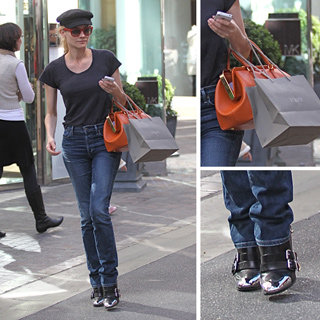 Diane Kruger Cap Toe Boots, Orange Bag, Red Sunglasses, Cap