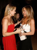 Christine Taylor and Jennifer Aniston chatted at the American Cinematheque Awards.