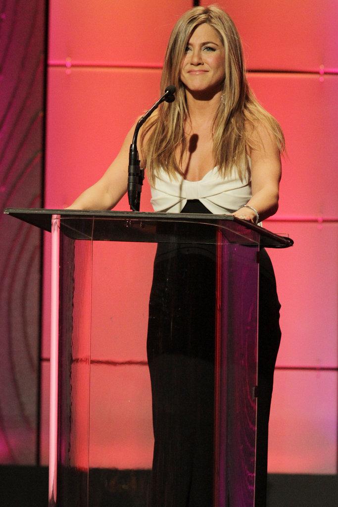 Jennifer Aniston spoke on stage at the awards.