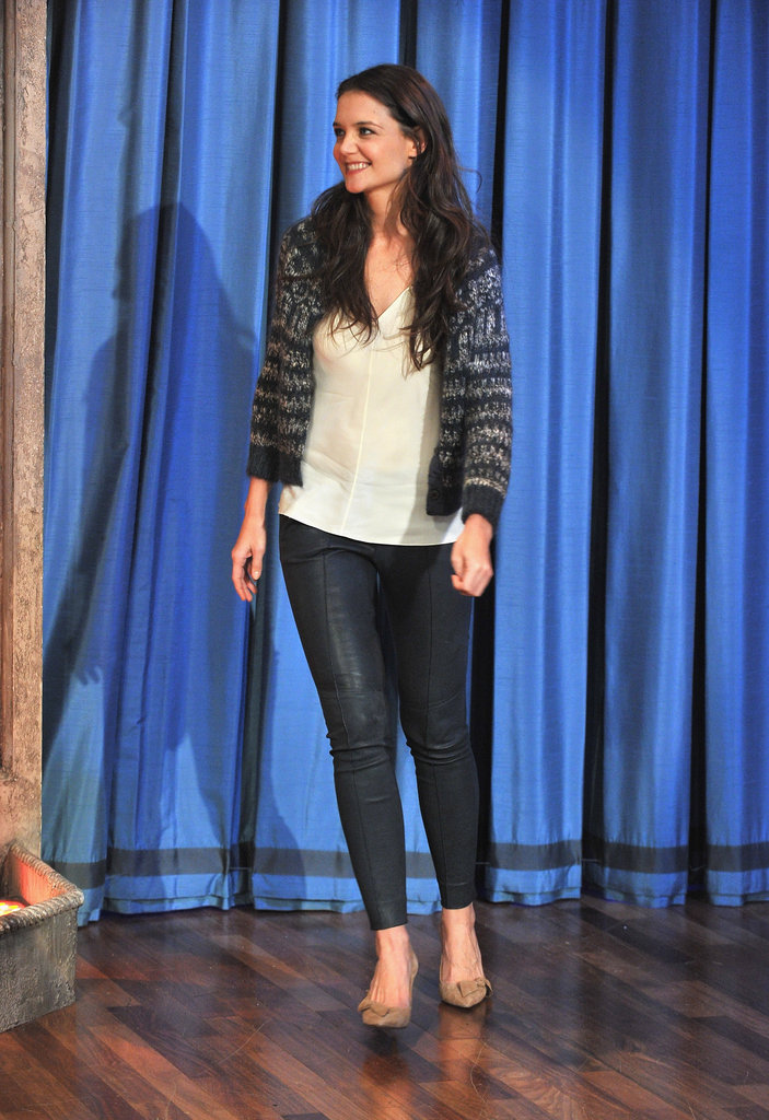 Katie Holmes made an appearance on Late Night With Jimmy Fallon in NYC.