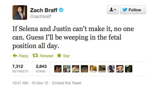 Zach Braff said what millions of tweens around the world were thinking.