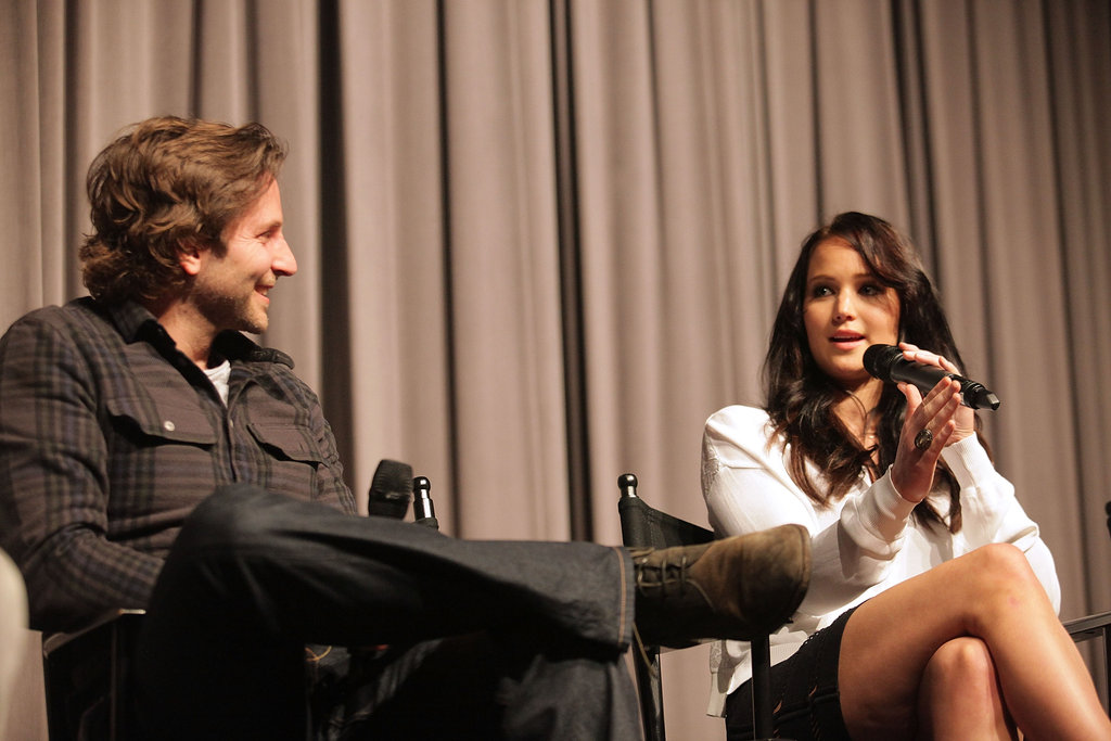 Jennifer Lawrence and Bradley Cooper  spoke on stage at the Silver Lining Playbook sreening in LA.