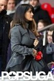 Salma Hayek wore a coat to a sporting event in France.