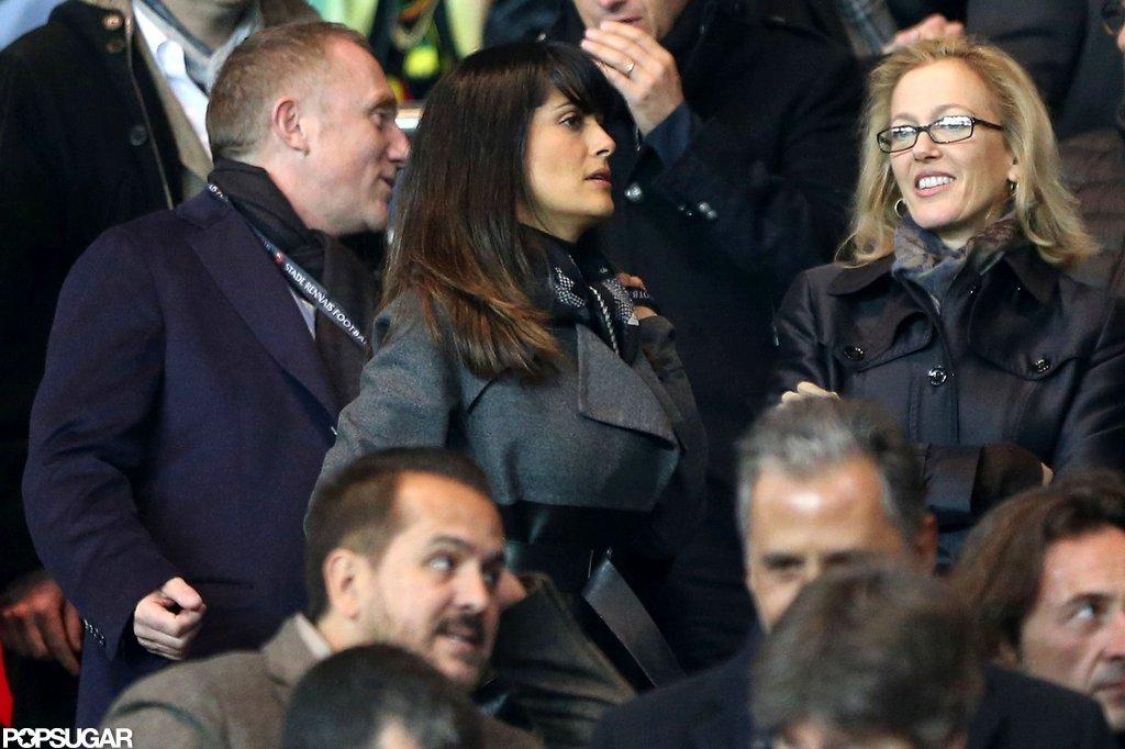 Salma Hayek and Francois-Henri Pinault walked to their seats.