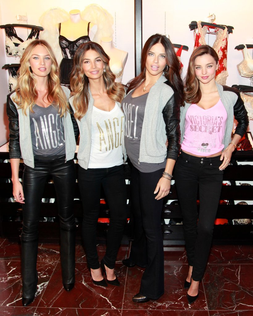 Miranda Kerr, Lily Aldridge, Adriana Lima, and Candice Swanepoel linked up at Victoria's Secret Herald Square in NYC.