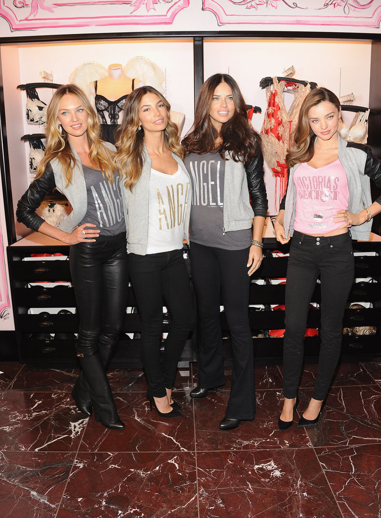 Miranda Kerr, Lily Aldridge, Adriana Lima, and Candice Swanepoel got together at Victoria's Secret Herald Square in NYC.