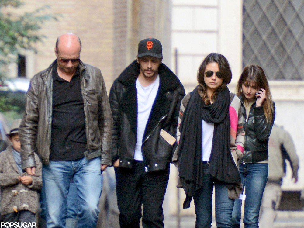 Mila Kunis and James Franco walked in Rome.