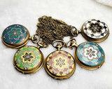 Vintage Flower Rhinestone Pocket Watch