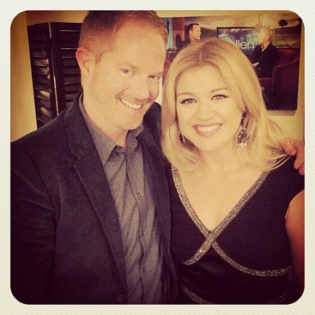 Jesse Tyler Ferguson posed with fellow Ellen guest Kelly Clarkson. Source: Instagram user jessetyler