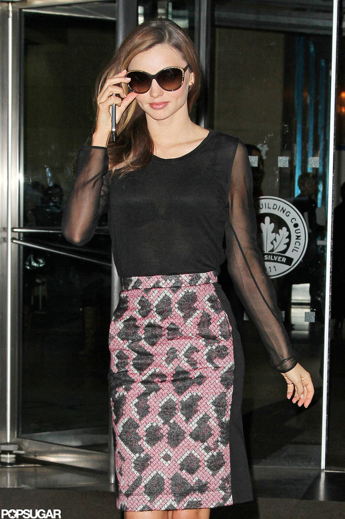 Miranda Kerr sported sheer sleeves.