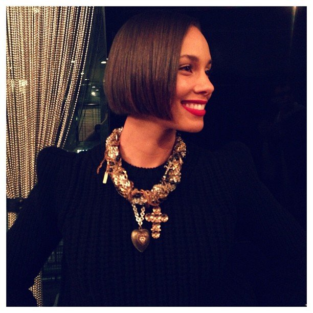 Alicia Keys modeled a bold statement necklace. Source: instagram user aliciakeys