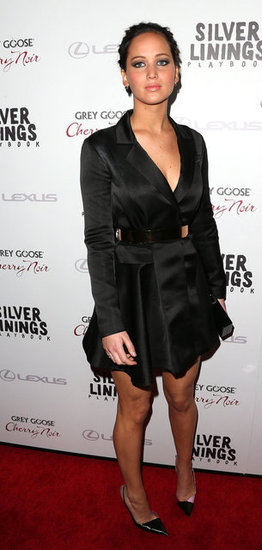 Jennifer Lawrence wore a silk black number for the Silver Linings Playbook LA premiere.