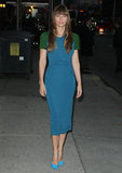 Jessica Biel posed for photographers outside the Late Show in NYC.