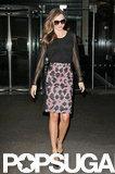 Miranda Kerr left an NYC building.