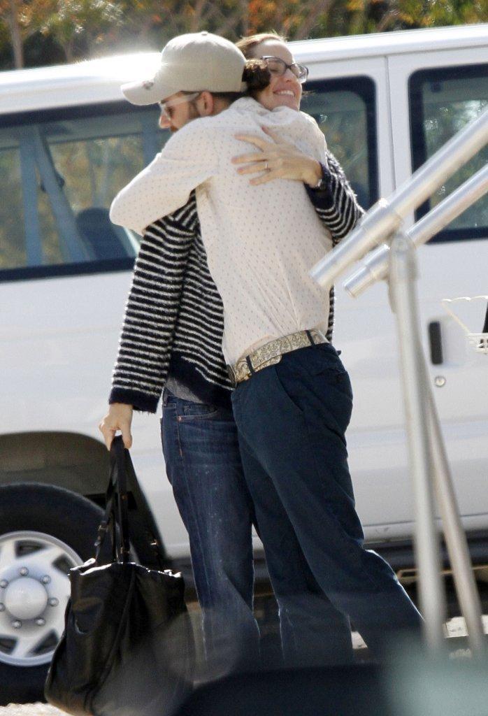 Jennifer Garner hugged a friend on set.