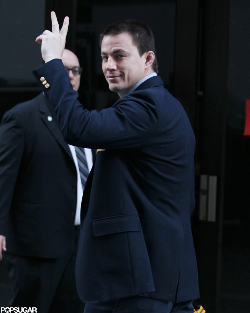 Channing Tatum gave the peace sign in Pittsburgh.
