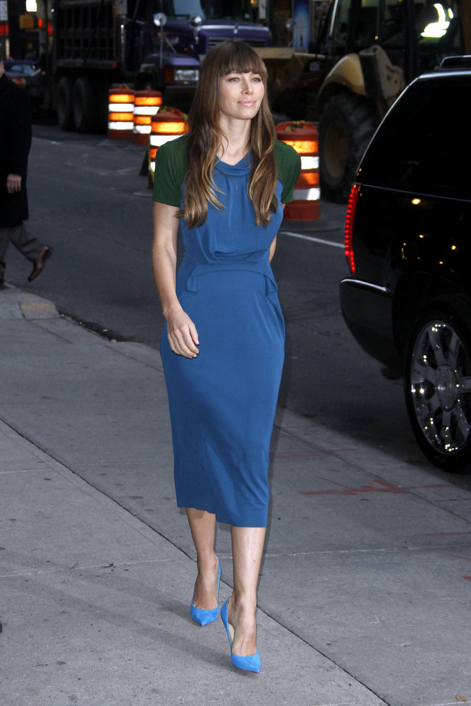 Jessica Biel stepped out to appear on the Late Show in NYC.