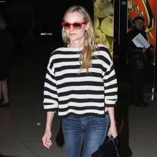 Diane Kruger Arrives in Paris Wearing Stripes | Pictures