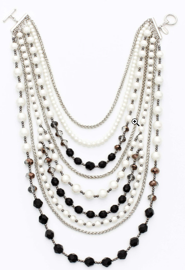 Now this Ann Taylor Pearlized and Jet Bead Statement Necklace ($78) is a statement piece with classic appeal, the kind that will look fantastic even with a white button-down.