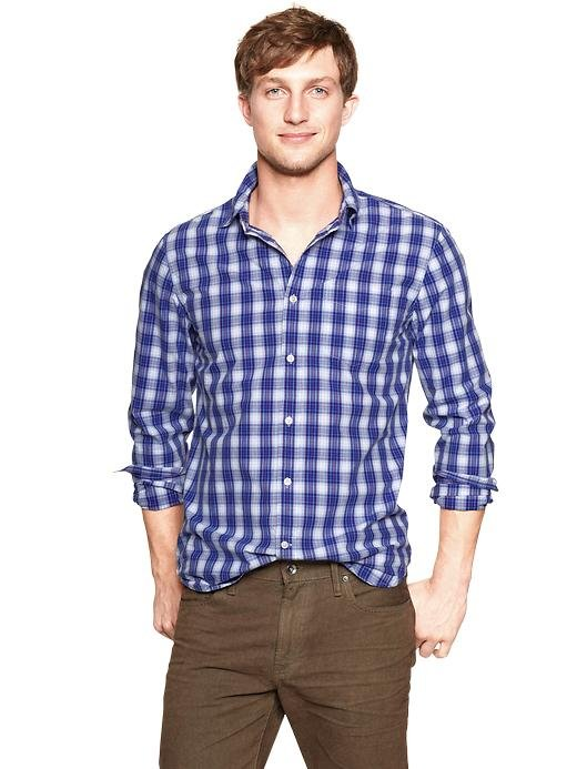 The perfect lived-in wash plaid shirt by Gap ($50) that he can throw on for date night — or just about anything.