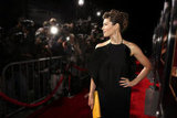 Jessica Biel posed on the red carpet in a black Gucci dress.