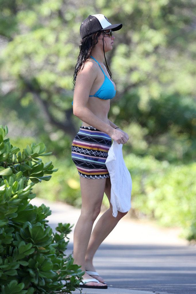 Jennifer Lawrence wore a blue bikini in Hawaii.