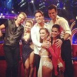 Dancing With the Stars finalists huddled together for a group shot. Source: Twitter user MelissaRycroft
