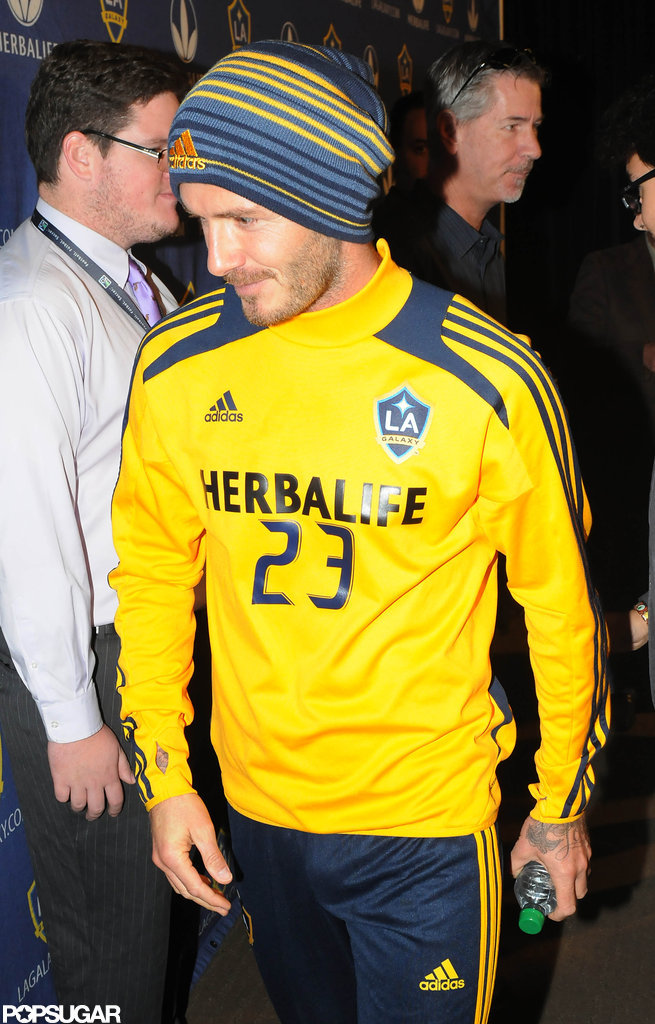 David Beckham heading out after the press conference.