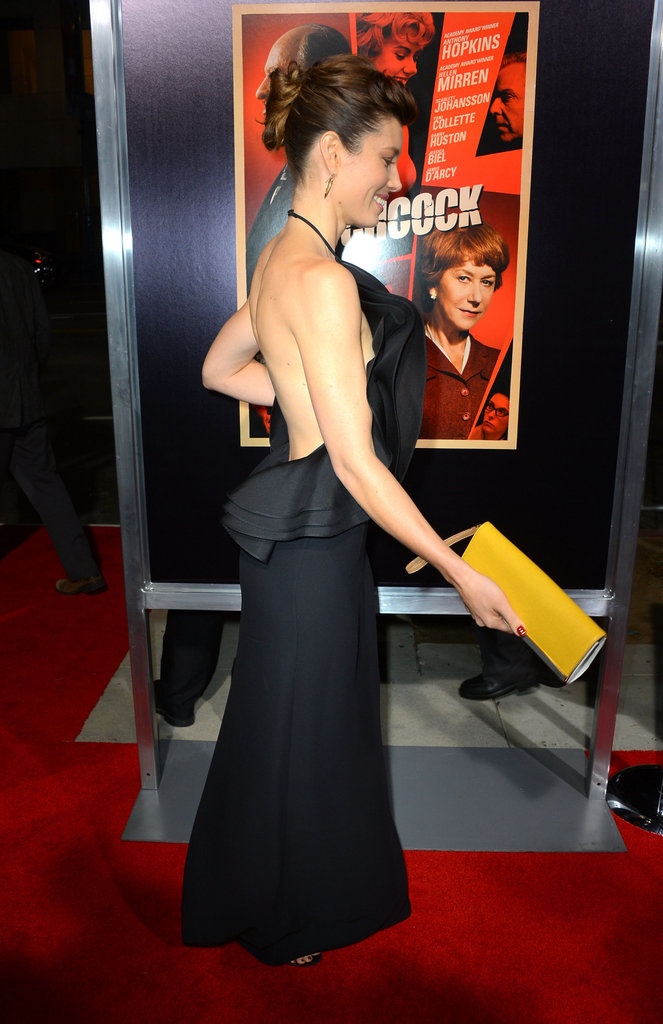Jessica Biel wore a revealing black Gucci number to hit the red carpet for the Hitchcock premiere in LA.