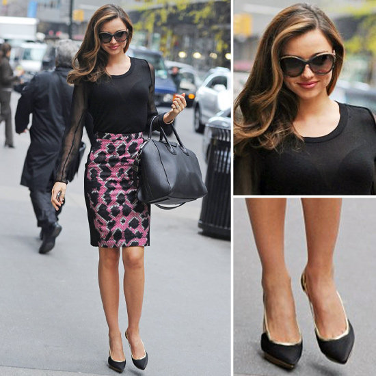 Now we need a printed pencil skirt, just like Miranda Kerr's.