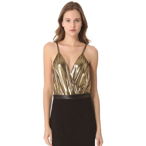 Wear this liquid gold Alice + Olivia Metallic Ballerina Bodysuit ($198) with tuxedo pants or a slim black pencil skirt for a chic get-together.