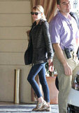 Emma Stone styled up her Winter essentials with a pair of glittery oxfords.