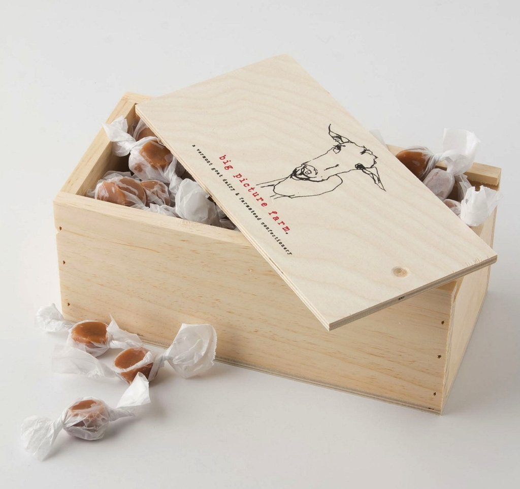 If your mom harbors a bit of a sweet tooth, then indulge her with Big Picture Farm's sea salt and bourbon vanilla caramels ($50). These particularly delicious treats come boxed in an antique food crate and hail from Salisbury, VT.