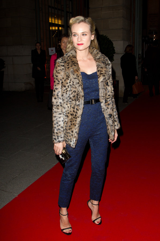 Diane Kruger perfected evening chic in a Jason Wu jumpsuit and leopard-print coat.