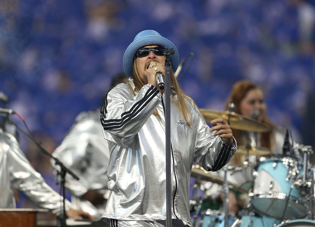 Kid Rock performed during the halftime show of the Houston Texans and Detroit Lions game in Detroit.