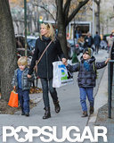 Naomi Watts hit the pavement with Kai Schreiber and Samuel Schreiber.
